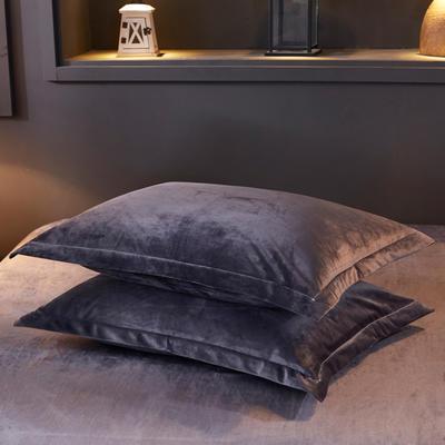 32019新款水晶绒纯色单枕套(48x74cm) 48cmX74cm 黑灰(一只)