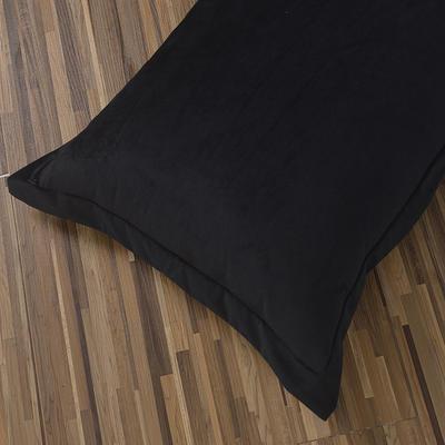 32019新款水晶绒纯色单枕套(48x74cm) 48cmX74cm 黑色(一只)