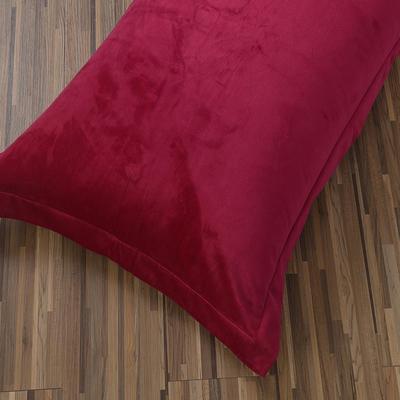 32019新款水晶绒纯色单枕套(48x74cm) 48cmX74cm 酒红(一只)