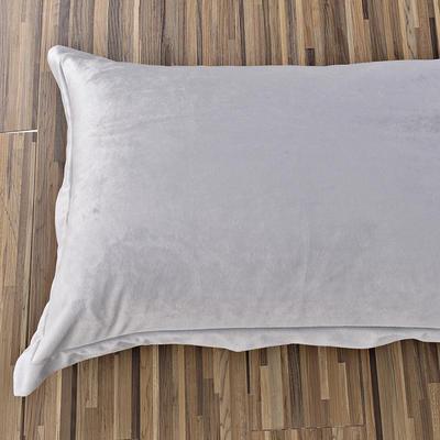 32019新款水晶绒纯色单枕套(48x74cm) 48cmX74cm 银灰(一只)