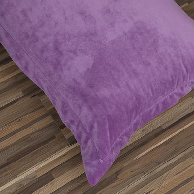 32019新款水晶绒纯色单枕套(48x74cm) 48cmX74cm 紫+灰(一只)