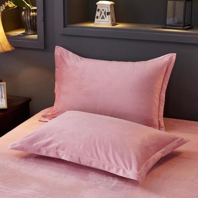32019新款水晶绒纯色单枕套(48x74cm) 48cmX74cm 豆沙(一对)