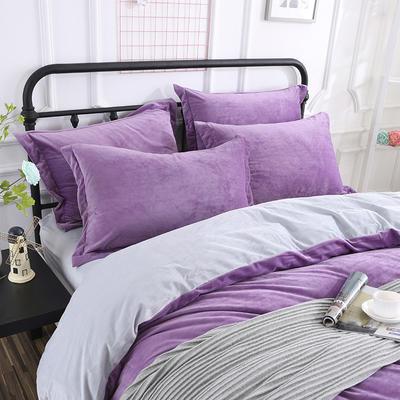 32019新款水晶绒纯色单枕套(48x74cm) 48cmX74cm 紫+灰(一对)