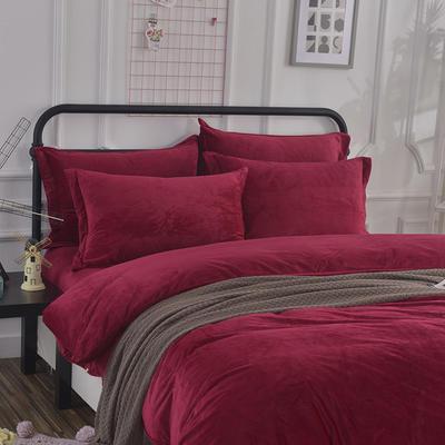 32019新款水晶绒纯色单枕套(48x74cm) 48cmX74cm 酒红(一对)
