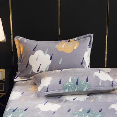 2019新款牛奶绒定制双人枕套(一只) 双人枕长1.8米以内定做 云朵