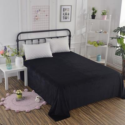 2019新款水晶绒纯色床单 床单180x245cm 黑色