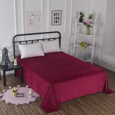 2019新款水晶绒纯色床单 床单180x245cm 酒红