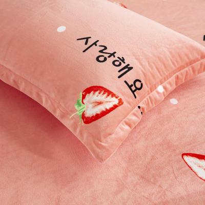2019新款水晶绒印花单床单 床单180x245cm 草莓
