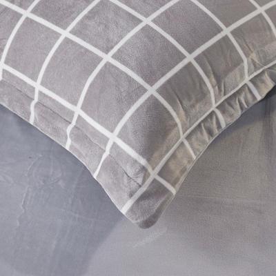 2019新款水晶绒印花单床单 床单180x245cm 灰格