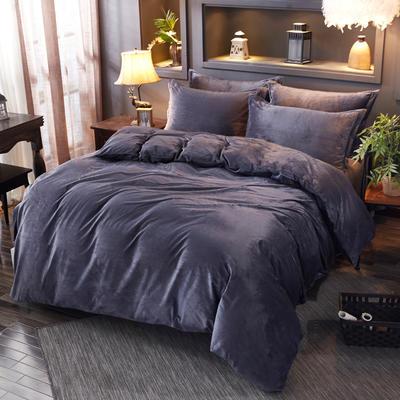 2019新款水晶绒纯色床单款四件套 1.0m-1.35m床三件套(床单款) 黑灰