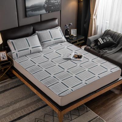 2020新款印花乳胶凉席 90x200cm(需定制) 床单款两件套 格子灰