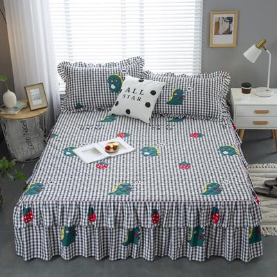 2020新款13372夹棉床裙 床裙100x200cm+45cm(定制) 草莓小怪兽