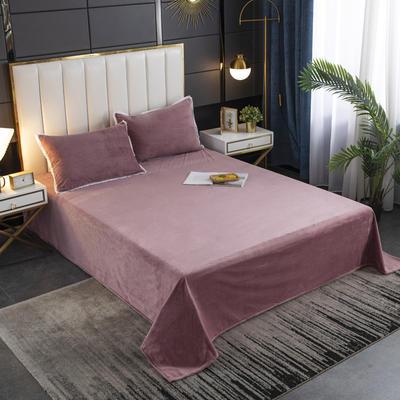 2020秋冬新品纯色花边宝宝绒-单床单 床单245x250cm 豆沙