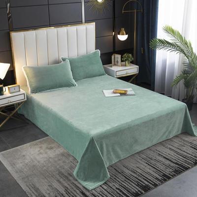 2020秋冬新品纯色花边宝宝绒-单床单 床单245x250cm 墨绿