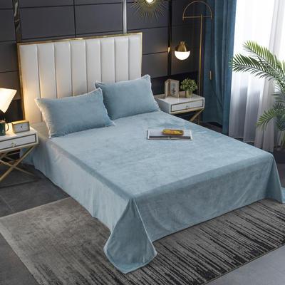 2020秋冬新品纯色花边宝宝绒-单床单 床单245x250cm 水蓝