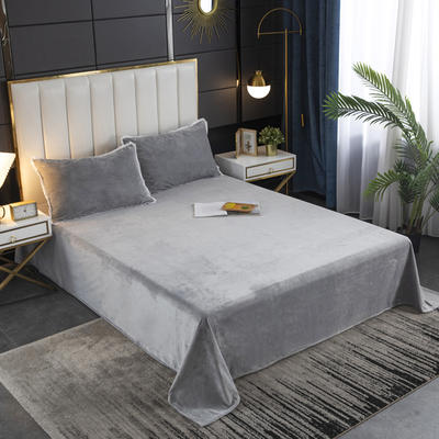 2020秋冬新品纯色花边宝宝绒-单床单 床单245x250cm 银灰