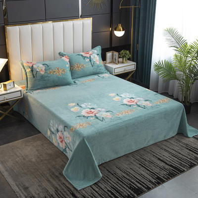 2020新款印花牛奶绒-单床单 床单245x250cm 朵朵花开