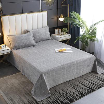 2020新款印花牛奶绒-单床单 床单245x250cm 灰格子