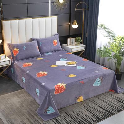 2020新款印花牛奶绒-单床单 床单245x250cm 莓莓印象
