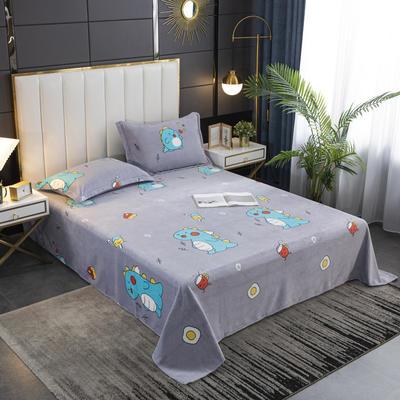 2020新款印花牛奶绒-单床单 床单245x250cm 萌萌龙