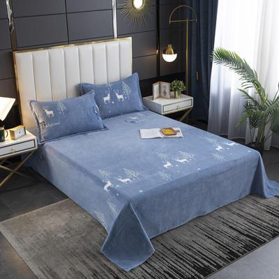 2020新款印花牛奶绒-单床单 床单245x250cm 麋鹿