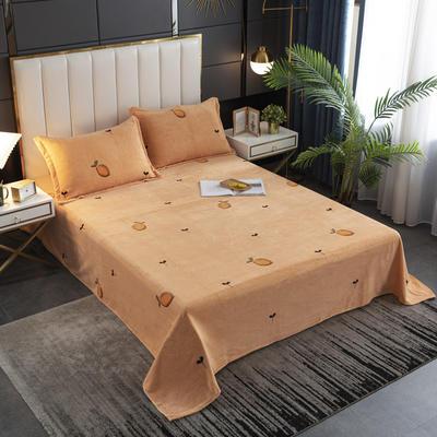 2020新款印花牛奶绒-单床单 床单245x250cm 暖意橙橙