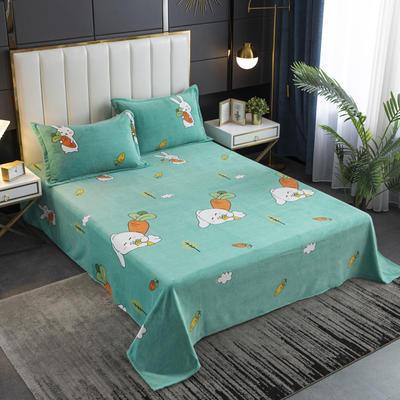 2020新款印花牛奶绒-单床单 床单245x250cm 兔萝卜