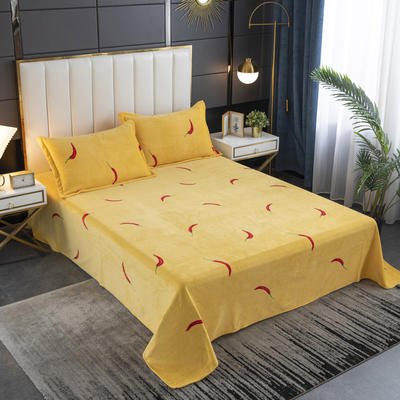 2020新款印花牛奶绒-单床单 床单245x250cm 小辣椒