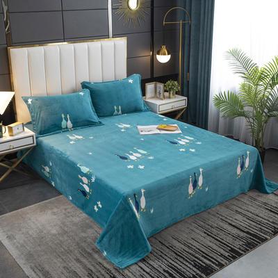 2020新款印花牛奶绒-单床单 床单200x245cm 幸福鸭
