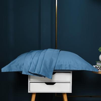 2021新款100支长绒棉纯色系列(单枕套) 48*74cm/对(5cm宽边) 宾利蓝