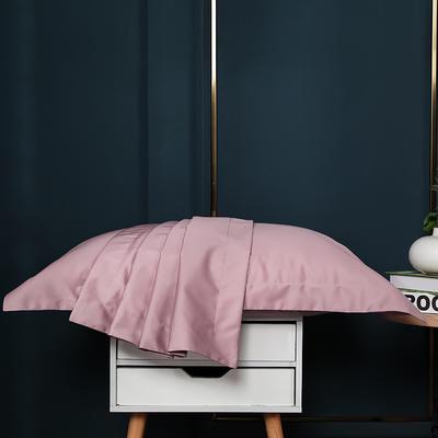 2021新款100支长绒棉纯色系列(单枕套) 48*74cm/对(5cm宽边) 心湖粉