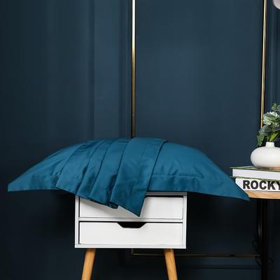 2021新款100支长绒棉纯色系列(单枕套) 48*74cm/对(5cm宽边) 星耀蓝