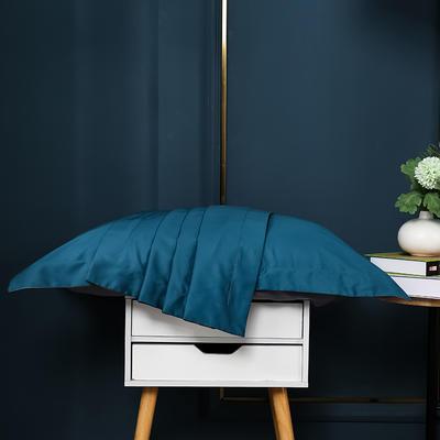 2021新款100支长绒棉纯色系列(单枕套) 48*74cm/对(5cm宽边) 星耀蓝拼帝都灰