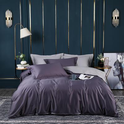 2021新款100支长绒棉纯色系列(床单款四件套) 1.5m床单款四件套 千黛紫拼迷雾灰
