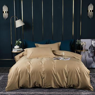 2021新款100支长绒棉纯色系列(床单款四件套) 1.5m床单款四件套 香槟金