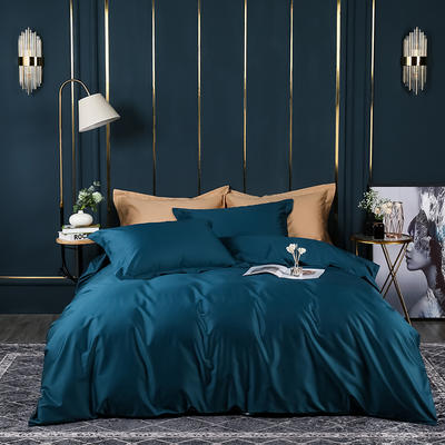 2021新款100支长绒棉纯色系列(床单款四件套) 1.5m床单款四件套 星耀蓝