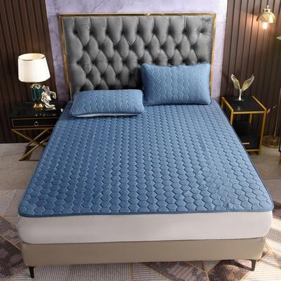 2021新款专利A类凉感丝云母乳胶席冰丝席三件套 1.2*2.0m凉席三件套 床单款-帝王蓝
