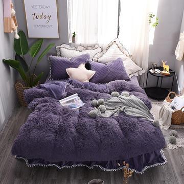 水貂绒四件套夹棉床裙款四件套嗨购送同款抱枕 小号(1.2m床裙款) 紫