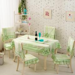 2017田园桌布椅子套餐桌布椅套装布艺茶几布长方形简约现代 35*200cm桌旗 绿榕