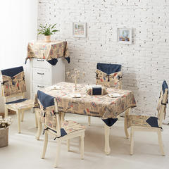 2017经典款棉麻餐桌布套装餐椅垫桌旗盘垫桌布台布茶几布布艺 90*90cm 巴黎铁塔