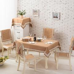 2017经典款棉麻餐桌布套装餐椅垫桌旗盘垫桌布台布茶几布布艺 90*90cm 摩尔庄园