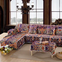 欧式夹棉沙发巾全盖沙发防灰尘沙发头盖布沙发靠背巾沙发套沙发罩 50*50cm同款抱枕套 你好色彩