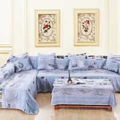 定制工艺夹棉AB版简约清新沙发罩巾沙发套垫沙发盖布小清新全盖 50*50cm同款抱枕套 法兰西
