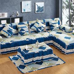 色彩几何沙发垫布艺简约现代四季通用防滑坐垫欧式万能沙发套罩巾 210x80+裙边25cm四人 兰