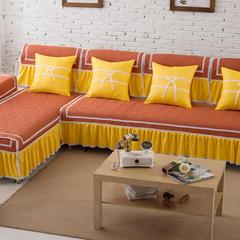 撞色素色纯色沙发垫四季通用布艺简约冬季沙发套全盖罩巾全包定做 210x80+裙边25大四人位 砖红
