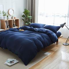 针织棉四件套床单款床笠款 1.2m(4英尺)床 藏青纯色