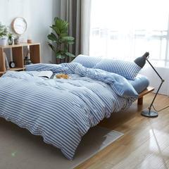 针织棉四件套床单款床笠款 1.2m(4英尺)床 蓝白中条