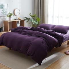 针织棉四件套床单款床笠款 1.2m(4英尺)床 深紫纯色