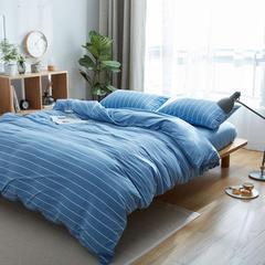 针织棉四件套床单款床笠款 1.2m(4英尺)床 天蓝宽条