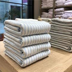 针织棉条纹夏被 150x200cm 蓝色